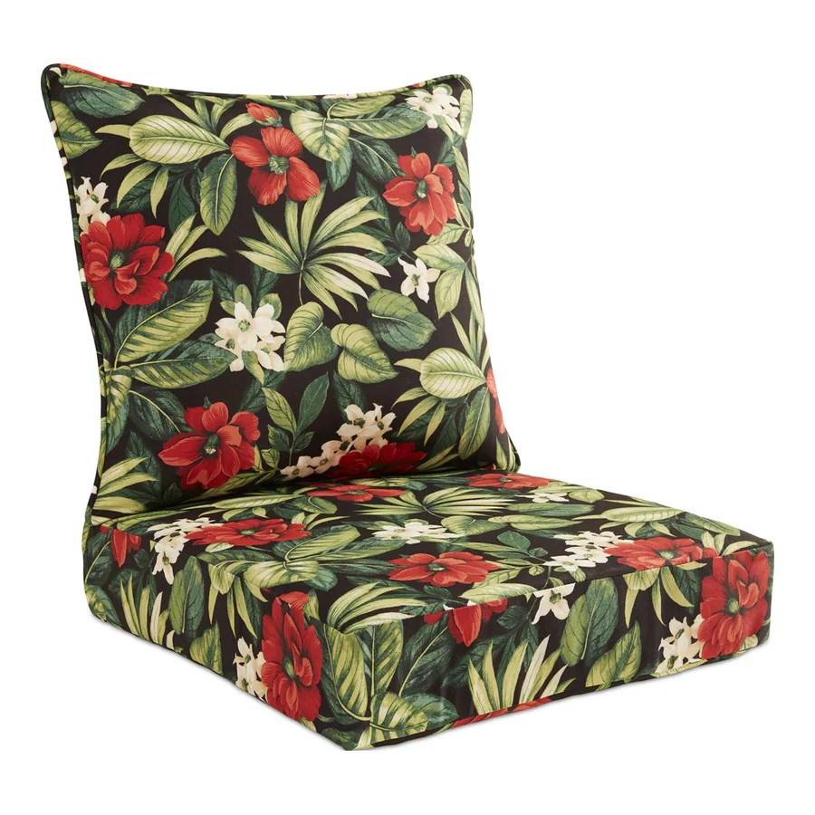 garden treasures 2 piece sanibel black tropical deep seat patio chair cushion