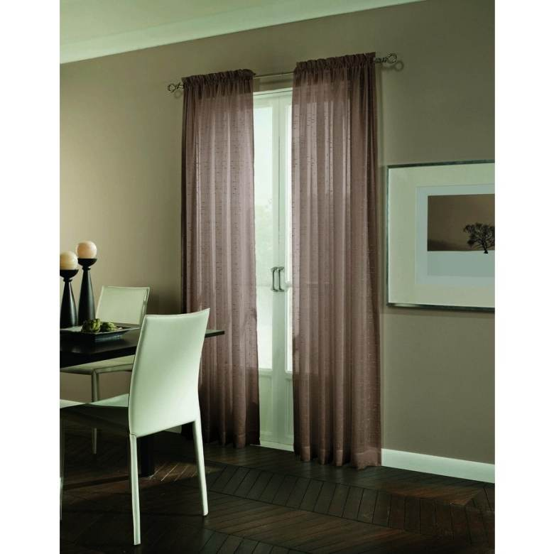allen + roth Williamston 84-in Cocoa Polyester Rod Pocket Light Filtering Single Curtain Panel
