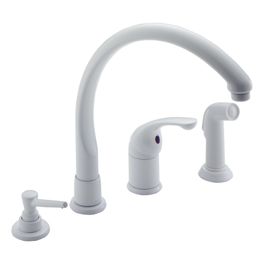 034449241212 White Kitchen Faucets 4 Hole