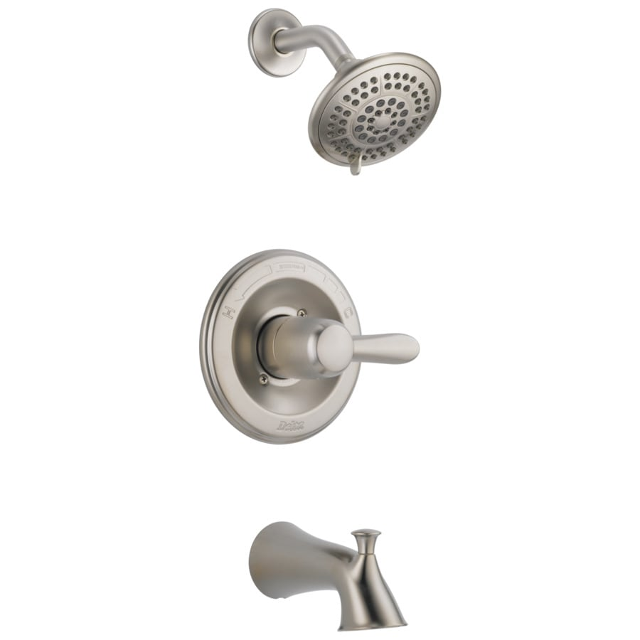 delta lahara stainless 1 handle bathtub and shower faucet lowes com