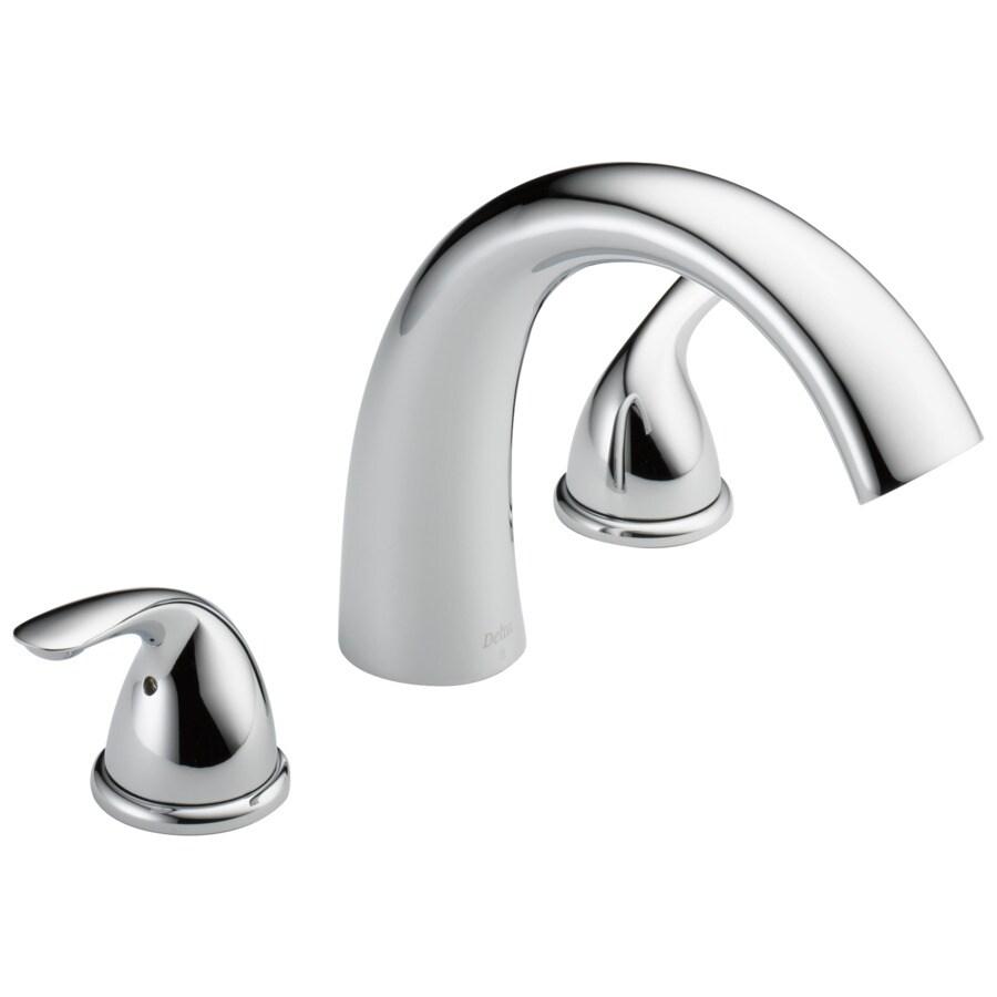 delta chrome 2 handle residential deck mount roman bathtub faucet