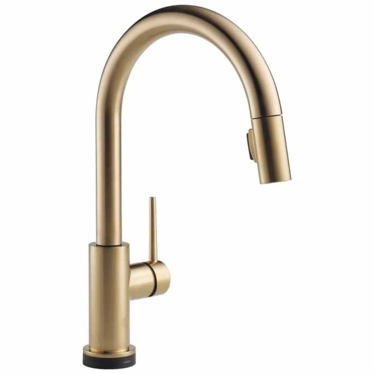 Touch2o Champagne Bronze Handle Pull Down Touch Kitchen Faucet