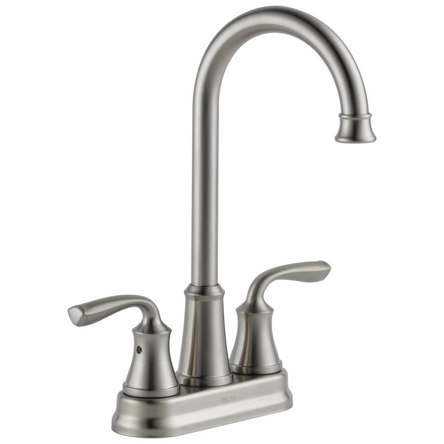 delta lorain stainless 2 handle deck mount bar and prep handle kitchen faucet
