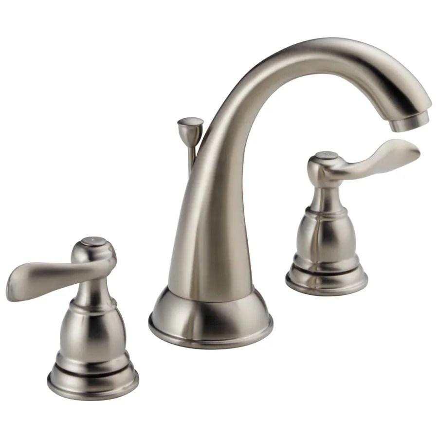 delta windemere brushed nickel 2 handle widespread watersense bathroom sink faucet with drain