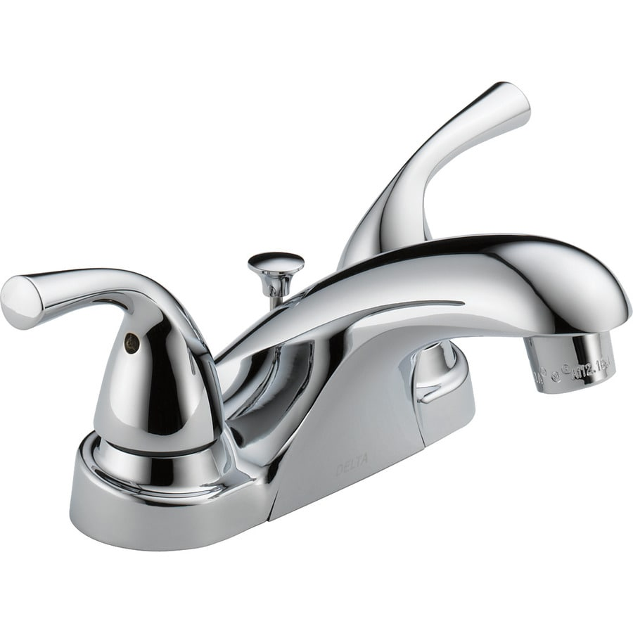 delta foundations chrome 2 handle 4 in centerset watersense bathroom sink faucet with drain