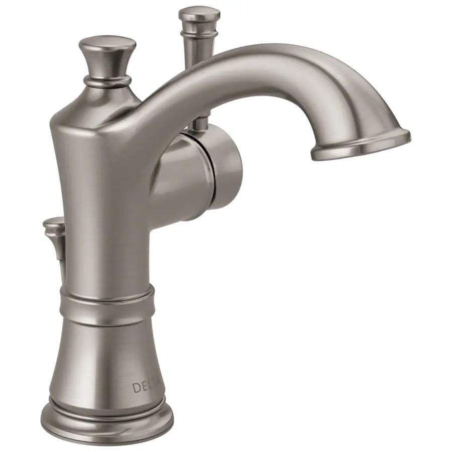 delta valdosta spotshield brushed nickel 1 handle single hole 4 in centerset watersense bathroom sink faucet with drain and deck plate