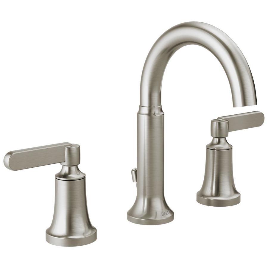 delta alux spotshield brushed nickel 2 handle widespread watersense bathroom sink faucet with drain