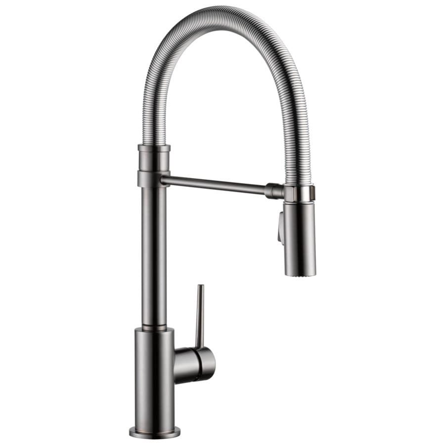 delta trinsic pro black stainless 1 handle deck mount pull down handle kitchen faucet