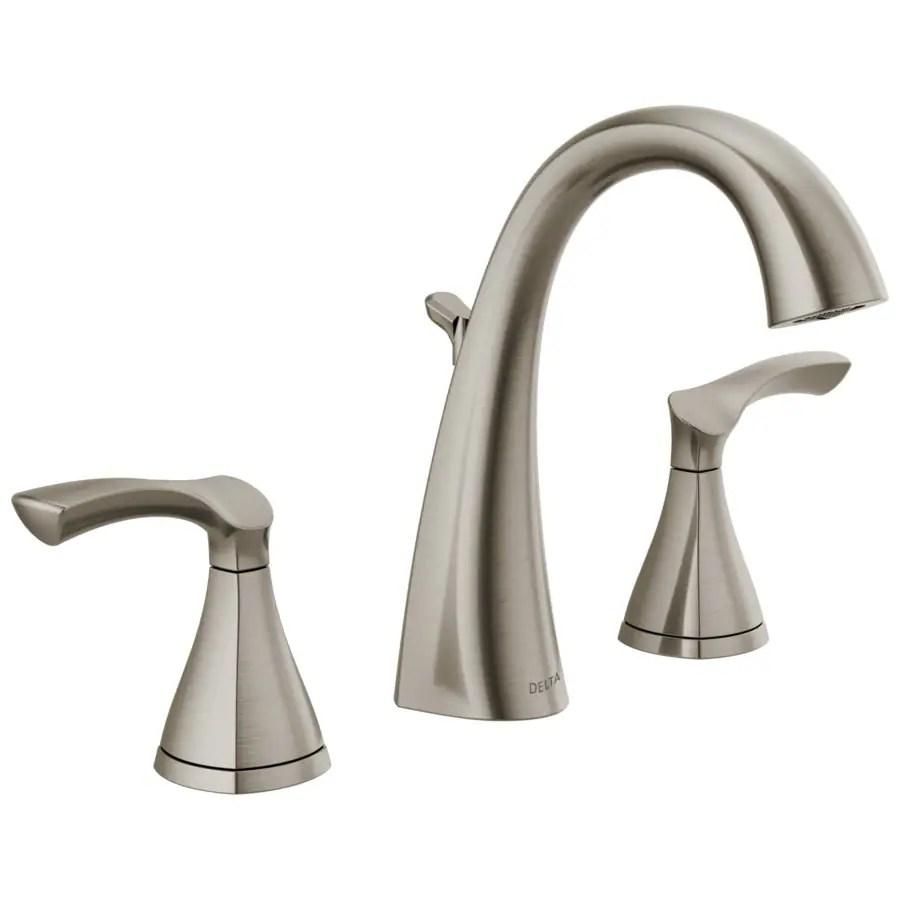 delta sandover spotshield brushed nickel 2 handle widespread watersense bathroom sink faucet with drain
