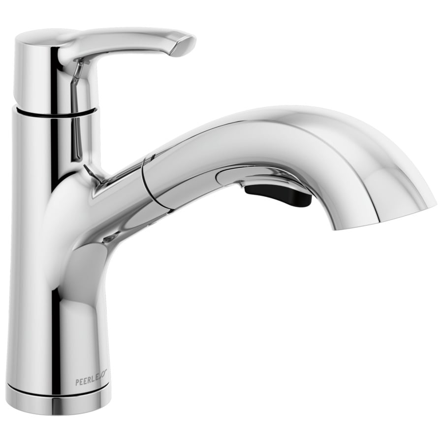 peerless parkwood chrome 1 handle deck mount pull out handle kitchen faucet deck plate included