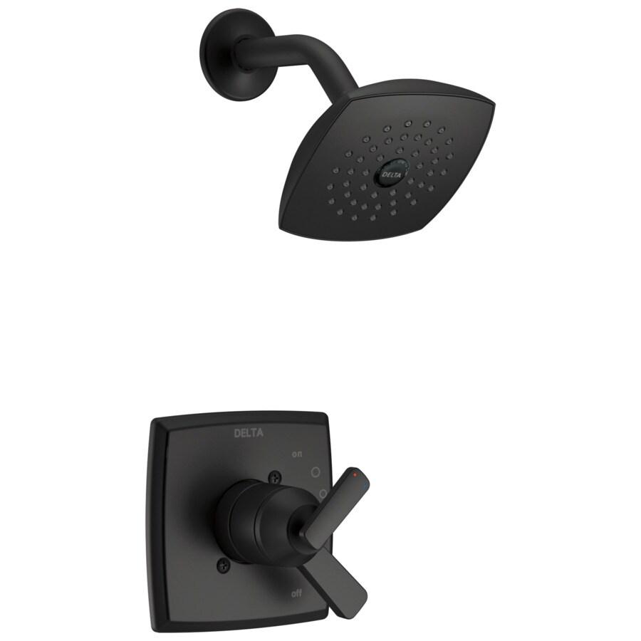 delta ashlyn matte black 2 handle shower faucet