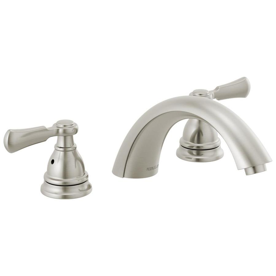 peerless elmhurst brushed nickel 2 handle residential deck mount roman bathtub faucet