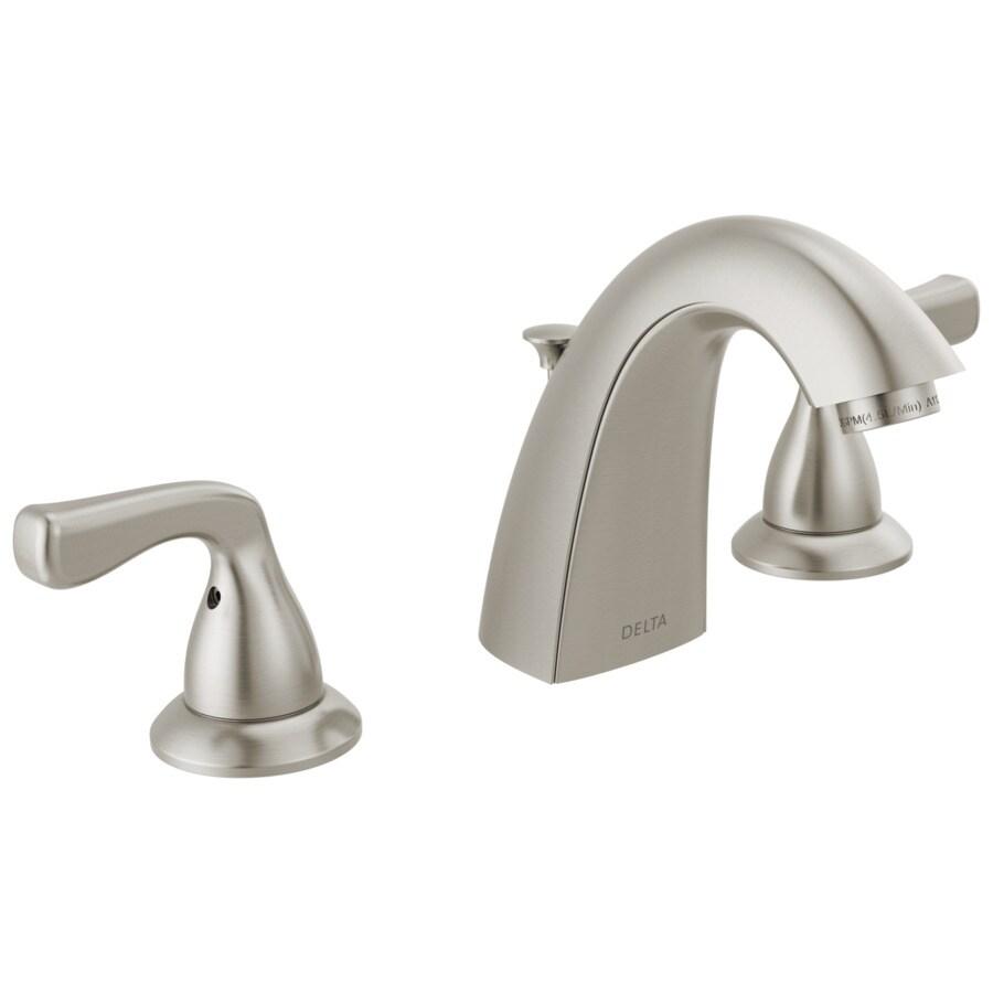 delta foundations spotshield brushed nickel 2 handle widespread watersense bathroom sink faucet with drain