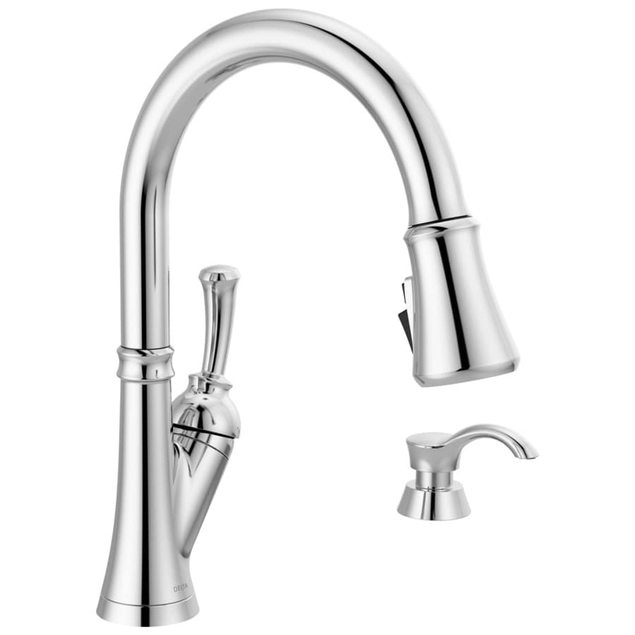 delta savile chrome 1 handle deck mount pull down handle kitchen faucet deck plate included