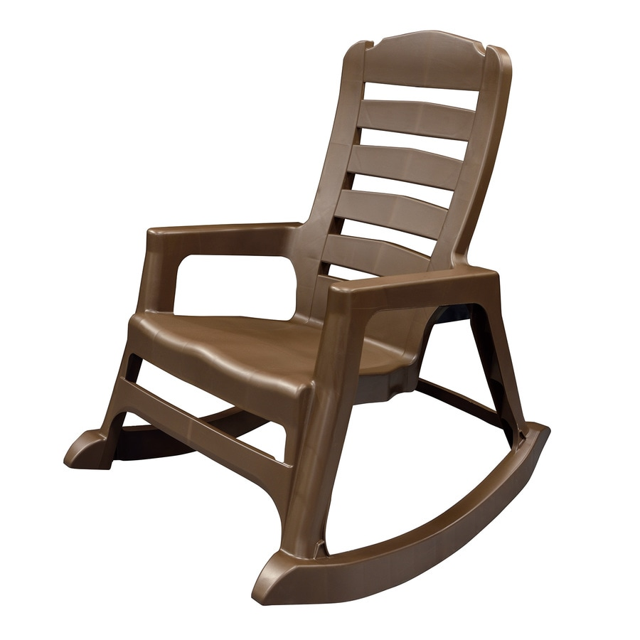 adams manufacturing stackable brown plastic frame rocking chair s with solid seat lowes com