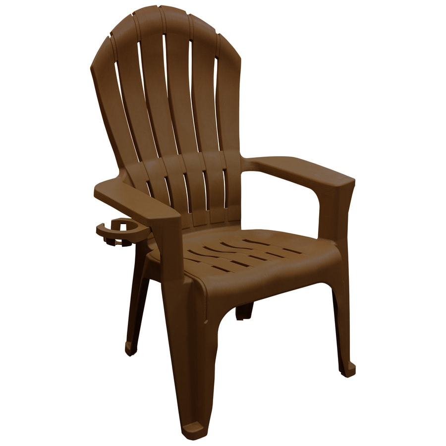 adams manufacturing big easy stackable brown plastic frame stationary adirondack chair s with slat seat seat