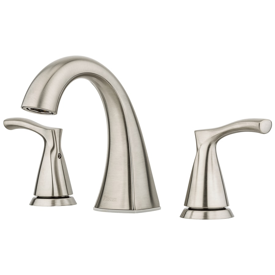 pfister masey brushed nickel 2 handle 8 in widespread watersense bathroom sink faucet with drain