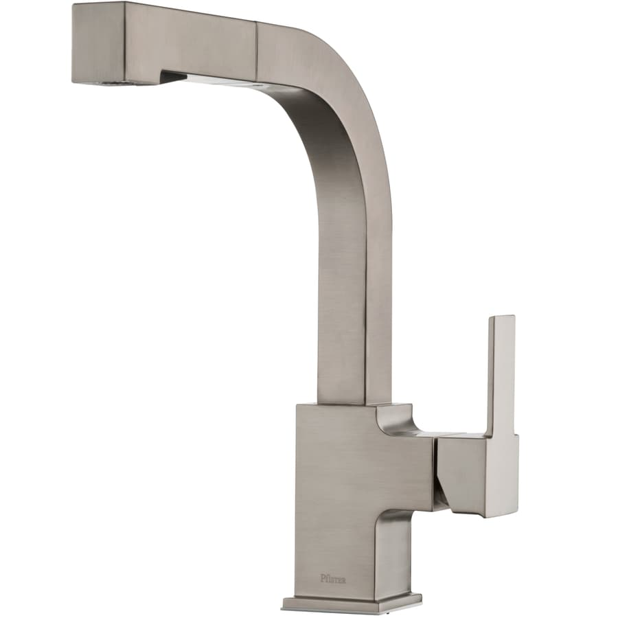 pfister arkitek stainless steel 1 handle deck mount high arc handle kitchen faucet deck plate included