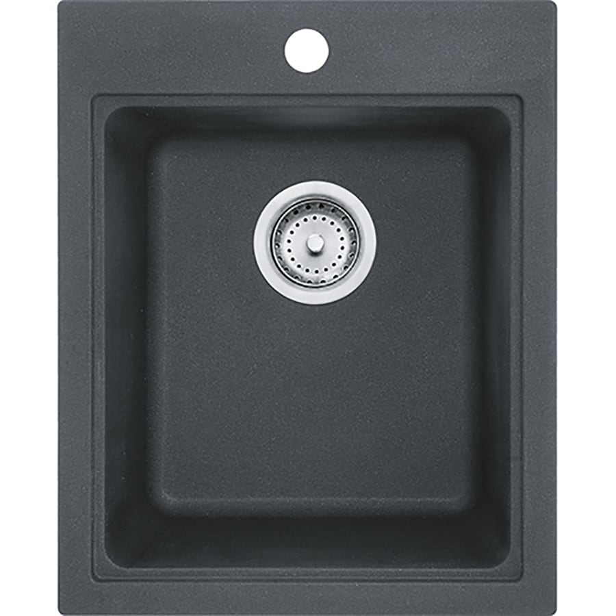 franke quantum 20 5 in l x 16 75 in w graphite 3 hole granite commercial residential bar sink
