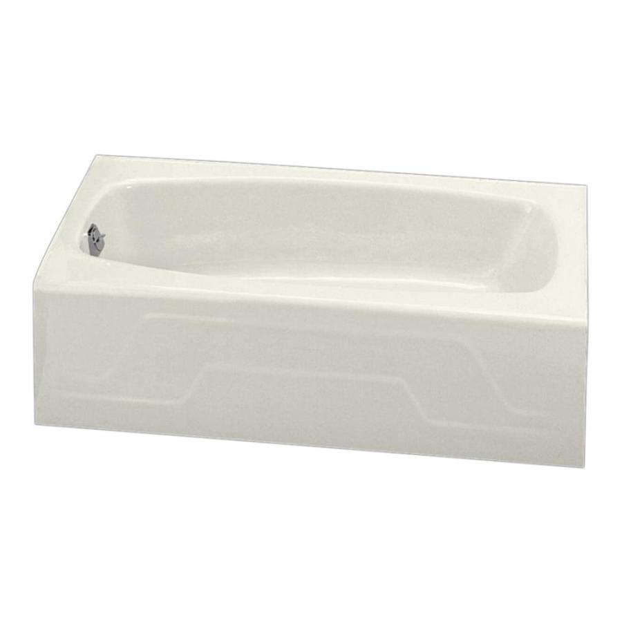 KOHLER Dynametric 60 In Biscuit Cast Iron Rectangular Left Hand Drain Alcove Bathtub At