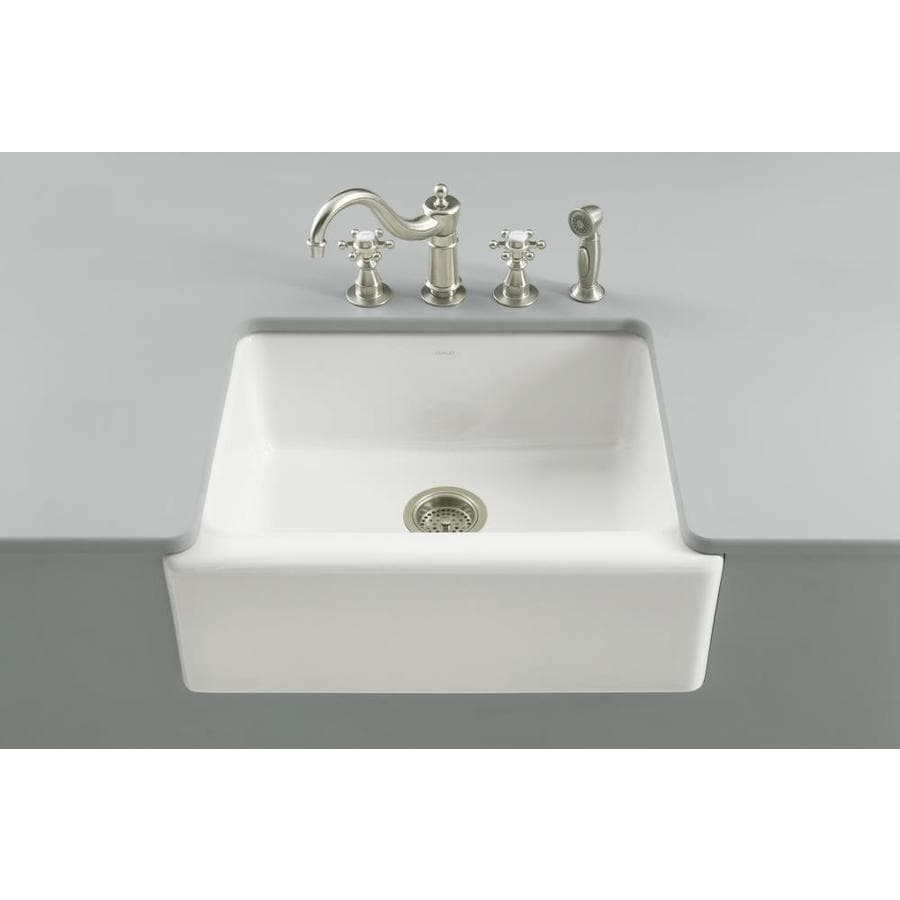 kohler alcott farmhouse apron front 25 5 in x 22 in white single bowl kitchen sink