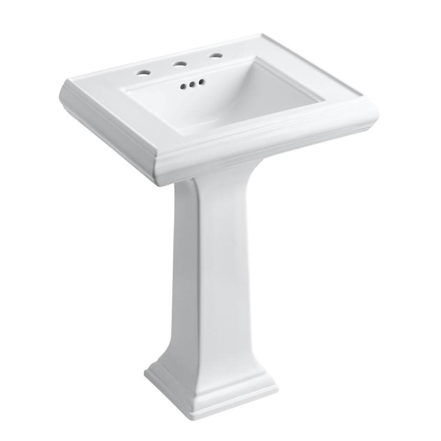 kohler memoirs 34 38 in h white fire clay pedestal sink lowes com