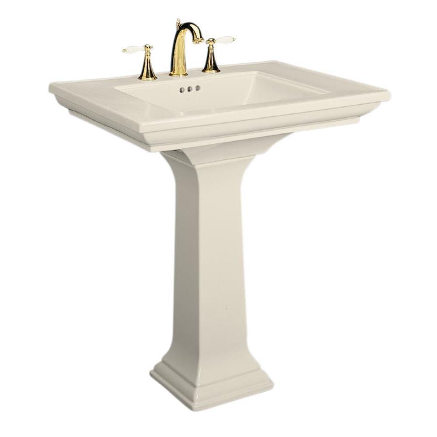 kohler memoirs 34 75 in h almond fire clay pedestal sink