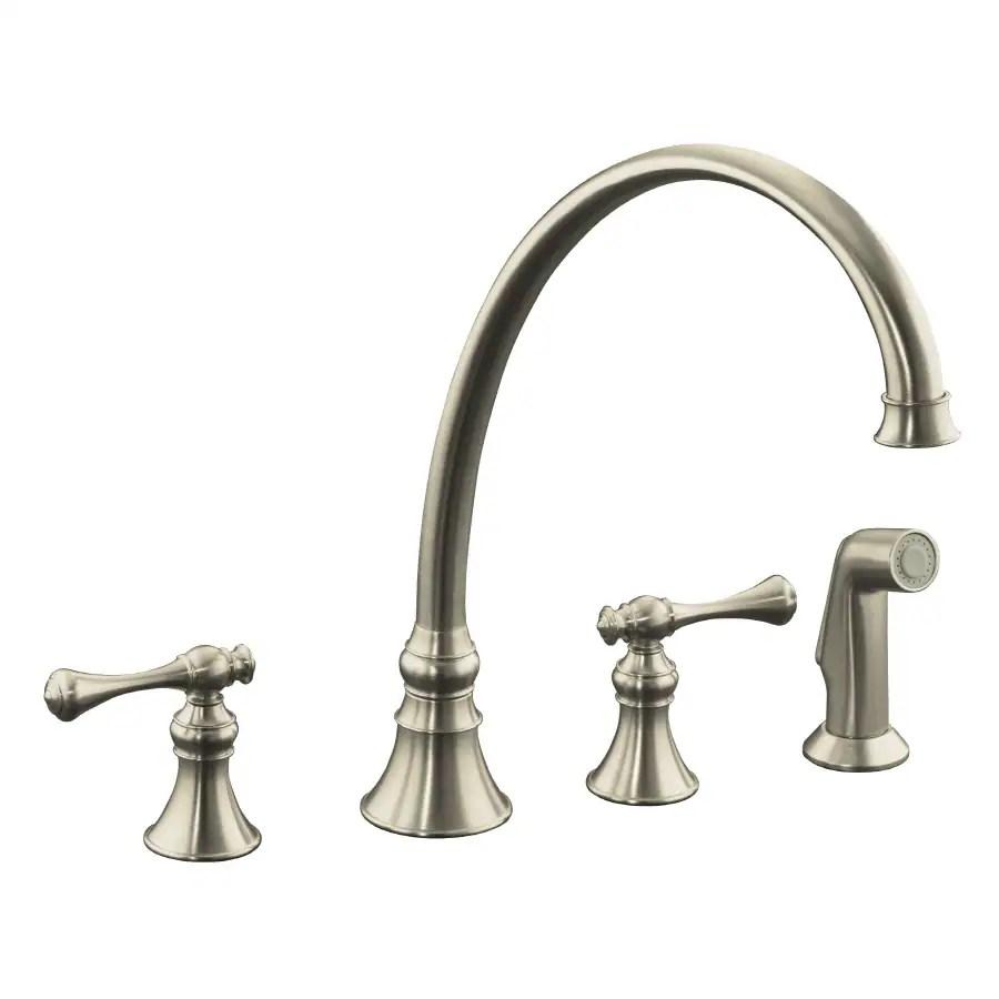 kohler revival vibrant brushed nickel 2 handle deck mount high arc handle kitchen faucet