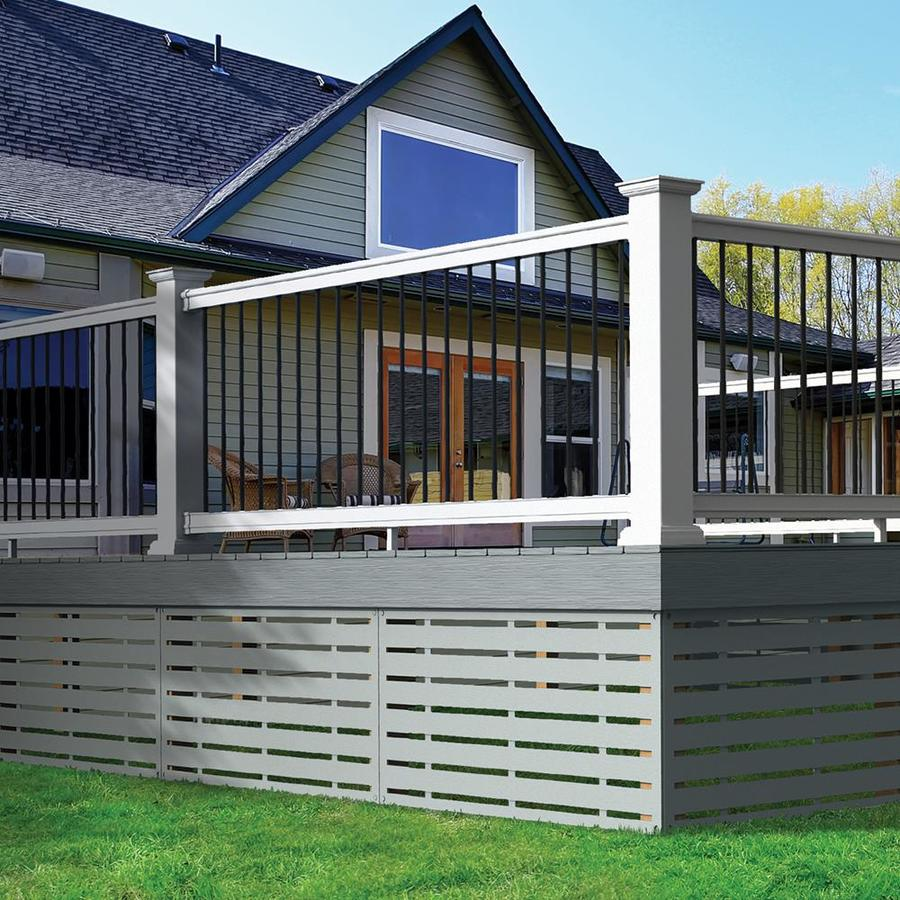freedom prescot 10 ft x 3 in x 3 ft white pvc deck rail kit round balusters included assembly required
