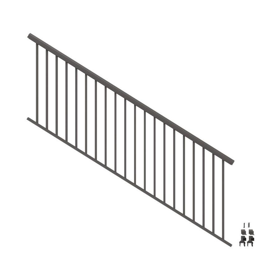 freedom cambridge 8 ft x 3 in x 3 ft matte bronze aluminum deck stair rail kit square balusters included assembly required