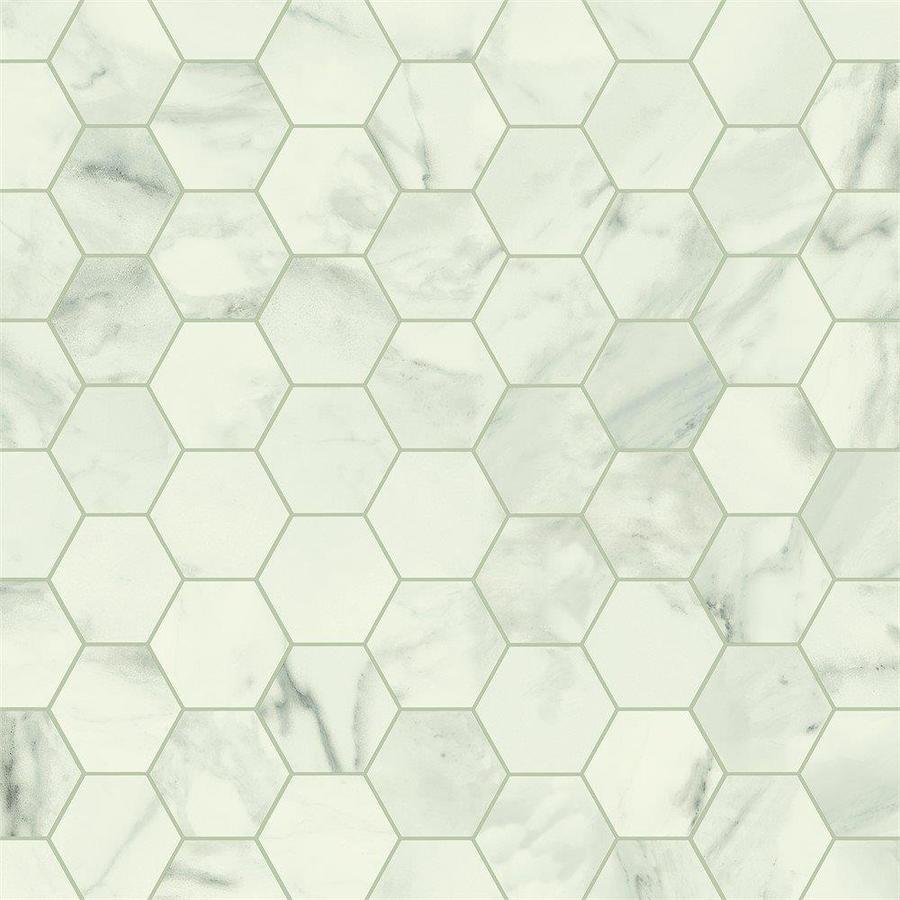 armstrong flooring pickwick landing i 12 ft w cut to length white hexagon stone look low gloss finish sheet vinyl lowes com