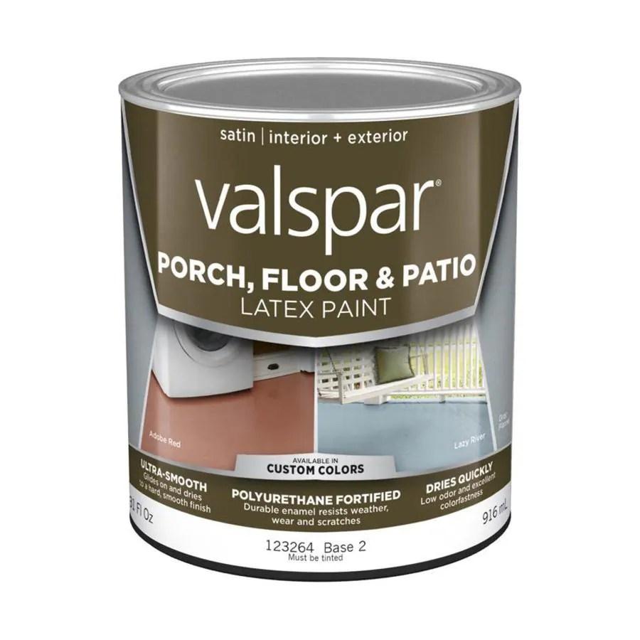 valspar tintable satin interior or exterior porch and floor paint 1 quart