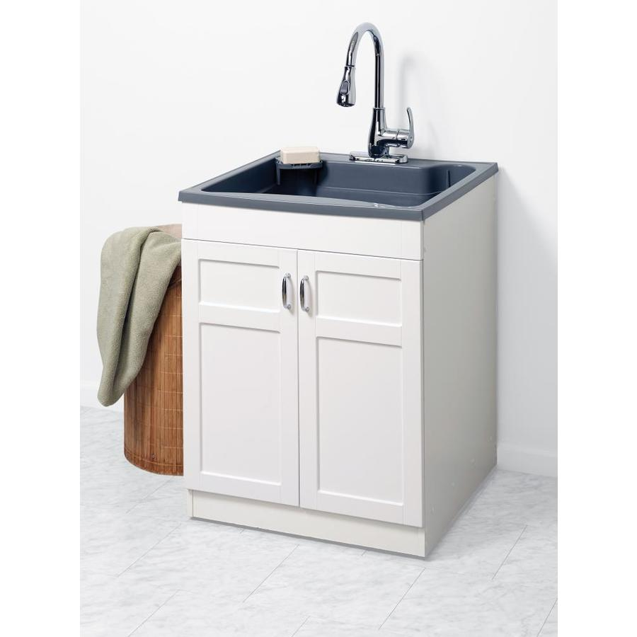 drain and faucet in the utility sinks
