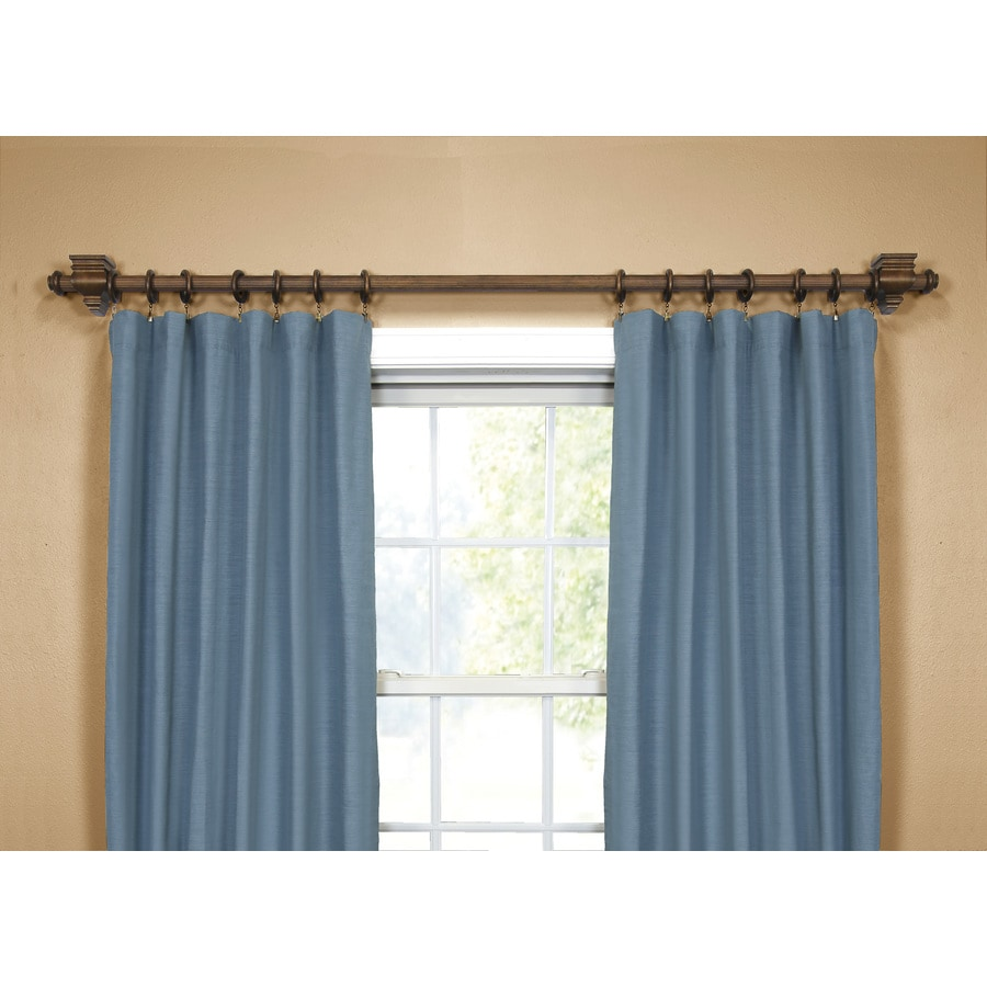 allen roth tobacco wood single curtain rod in the curtain rods department at lowes com