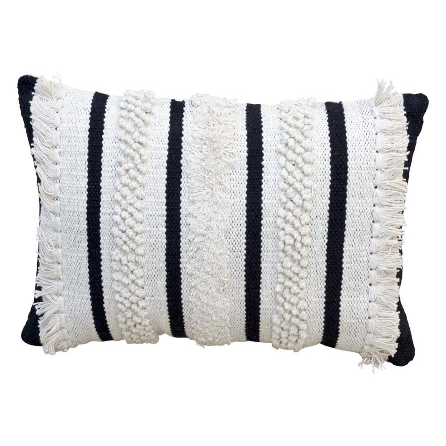 striped black rectangular throw pillow