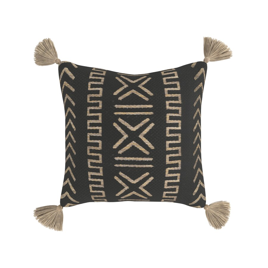 geometric black square throw pillow in
