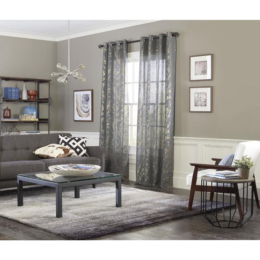 allen roth 95 in denim polyester semi sheer grommet single curtain panel in the curtains drapes department at lowes com