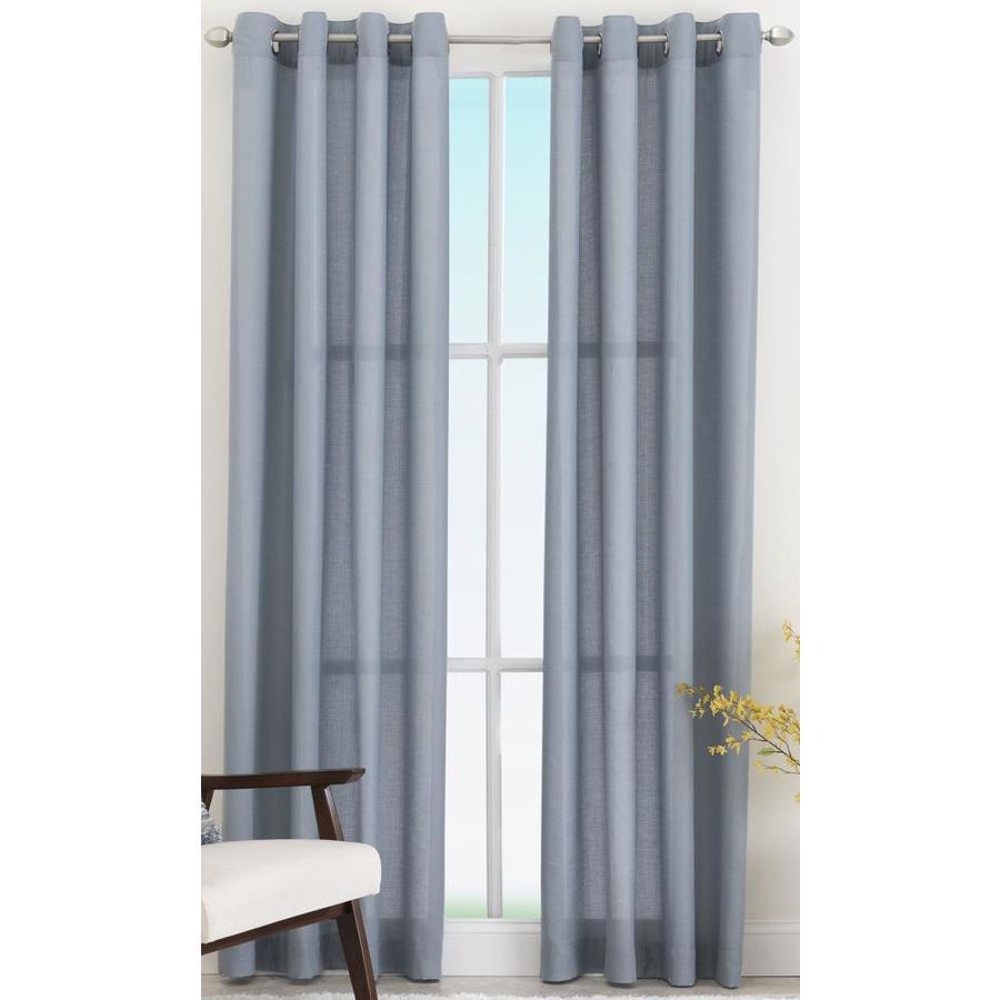 living logic 84 in blue polyester light filtering grommet single curtain panel