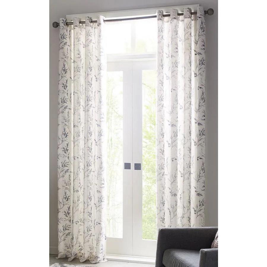 allen roth 95 in indigo polyester light filtering grommet single curtain panel