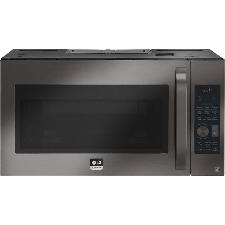 https www lowes com pd lg studio 1 7 cu ft over the range convection microwave with sensor cooking fingerprint resistant black stainless steel 1000154105