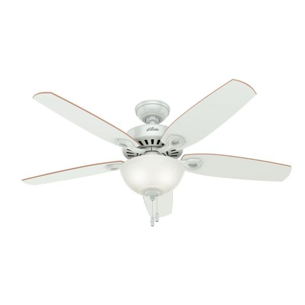 Shop Hunter Builder Deluxe 52 in White Indoor Ceiling Fan with Light     Hunter Builder Deluxe 52 in White Indoor Ceiling Fan with Light Kit