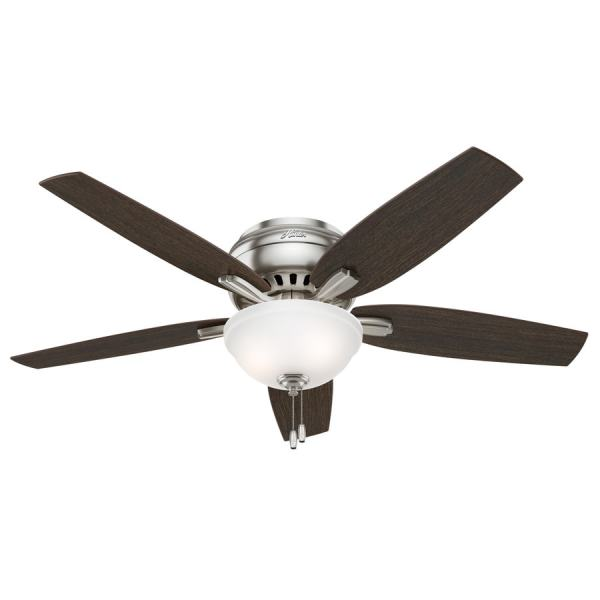 Shop Hunter Newsome 52 in Brushed Nickel Indoor Flush Mount Ceiling     Hunter Newsome 52 in Brushed Nickel Indoor Flush Mount Ceiling Fan with  Light Kit