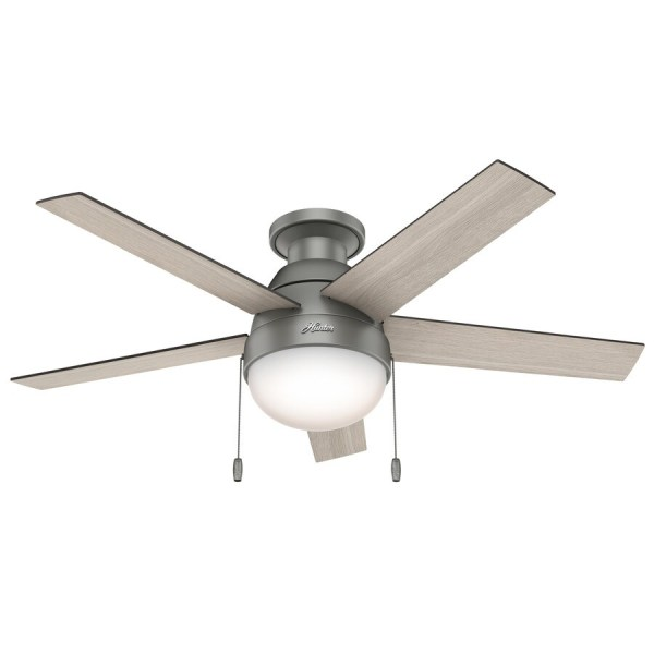 Shop Hunter Anslee 46 in Matte Silver Indoor Flush Mount Ceiling Fan     Hunter Anslee 46 in Matte Silver Indoor Flush Mount Ceiling Fan with Light  Kit