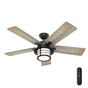 Hunter Lantern Bay LED 54in Matte Black LED IndoorOutdoor Ceiling Fan with Light Kit and