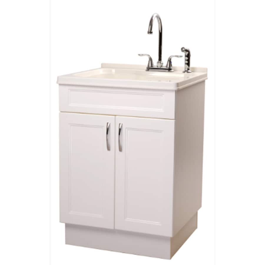 transform 25 in x 22 in 1 basin abs white freestanding utility tub with drain and faucet