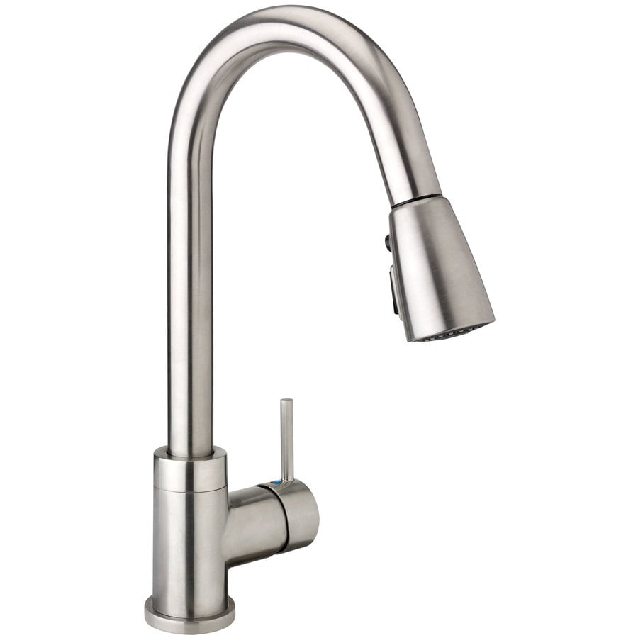 keeney urbania brushed nickel 1 handle deck mount pull down handle kitchen faucet deck plate included