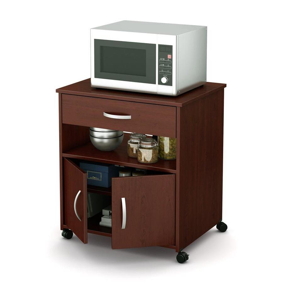 south shore furniture brown composite base with wood laminate top microwave cart 19 75 in x 26 in x 27 25 in lowes com