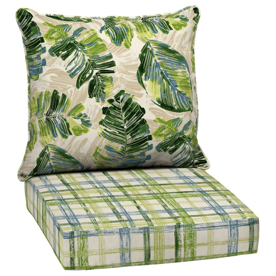 garden treasures 2 piece palm leaf deep seat patio chair cushion