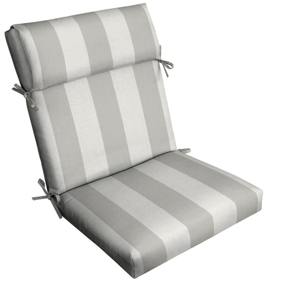 allen roth herringbone cabana stripe dove grey high back patio chair cushion lowes com