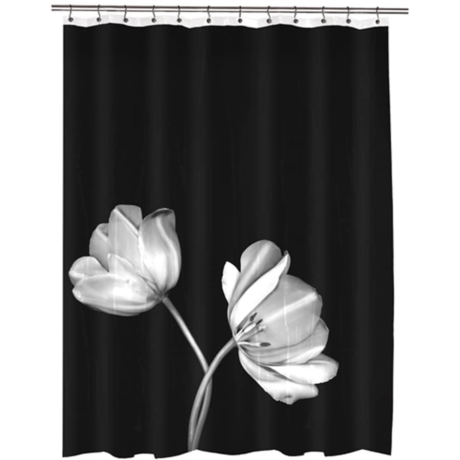 72 in eva peva photo black floral shower curtain lowes com